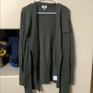 Old Navy Sweaters - Long olive sweater material cardigan w front pkts